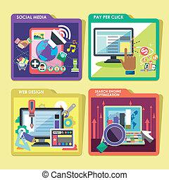 平ら, インターネット, デザイン, 広告, アイコン