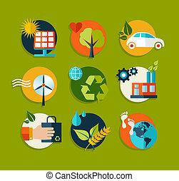平ら, エコロジー, セット, アイコン