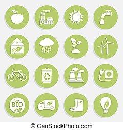 平ら, エコロジー, セット, 緑, アイコン