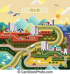 平ら, エコロジー, デザイン