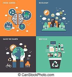 平ら, エコロジー, 概念, デザイン