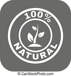 平ら, エコロジー, 自然, eco, パーセント, シンボル。, bio, icon., 100
