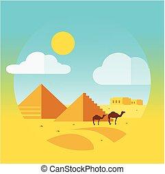 平ら, エジプト人, らくだ, デザイン, ピラミッド, 風景