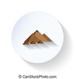 平ら, エジプト人, アイコン, ピラミッド