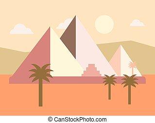 平ら, エジプト, イラスト, ベクトル, 日没, ピラミッド, 砂漠