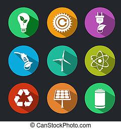 平ら, エネルギー, エコロジー, セット, アイコン