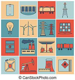 平ら, エネルギー, セット, 線, アイコン