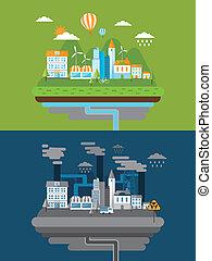 平ら, エネルギー, デザイン, 緑, 汚染