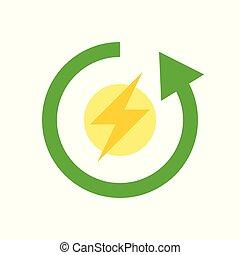 平ら, エネルギー, フラッシュ, 矢, きれいにしなさい, 円, アイコン