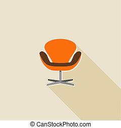 平ら, オフィスアイコン, 長い間, 影, 椅子