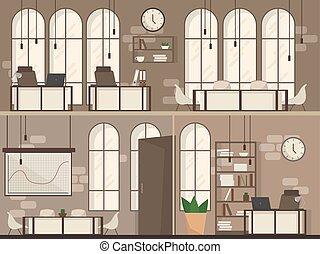平ら, オフィススペース, 現代, イラスト, ベクトル, 仕事場, 内部, 空