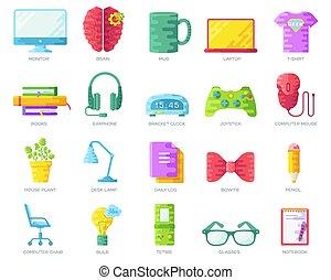 平ら, オフィス, カラフルである, 人々, geeks, アイコン, それ, コレクション, ベクトル, 仕事場, イラスト, 専門家, デベロッパー, 技術, set., のまわり