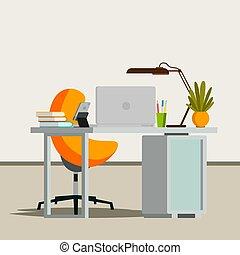 平ら, オフィス, ビジネス, 現代, イラスト, workplace., vector., 内部, design.