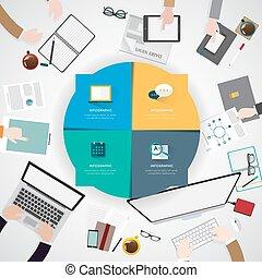 平ら, オフィス, 現代, イラスト, 創造的, デザイン, ワークスペース