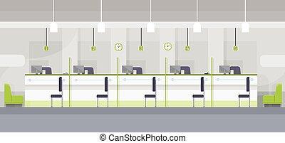 平ら, オフィス, 現代, デザイン, 仕事場, 机, 内部, chashier, 銀行