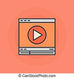 平ら, オンラインで, ビデオ, アイコン