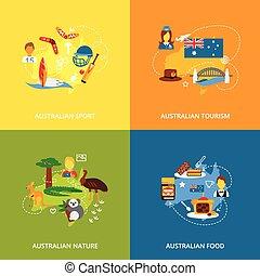 平ら, オーストラリア, セット, アイコン