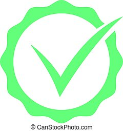 平ら, カチカチいいなさい, eps10, シンボル, button., 隔離された, バックグラウンド。, ベクトル, 緑, アイコン, 白, 印, 点検, ラウンド
