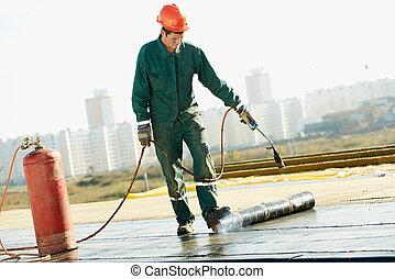 平ら, カバー, フェルト, 屋根ふき, 屋根, 仕事, 修理