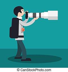 平ら, カメラマン, 大きい, cartoon., カメラ, ベクトル, デザイン, 望遠レンズ, lens.