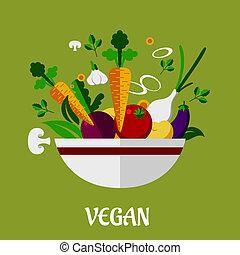 平ら, カラフルである, アイコン, ポスター, vegan, 野菜