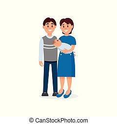 平ら, カラフルである, 家族, 妻, 幸せ, concept., 人々, 若い, 新生, カップル。, 親であること, characters., ベクトル, デザイン, 包含, 漫画, baby., ∥(彼・それ)ら∥, 夫, parents.