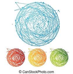 平ら, カラフルである, 抽象的, 球, ベクトル, デザイン, set.