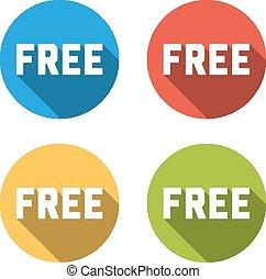 平ら, カラフルである, 隔離された, コレクション, ボタン, 無料で, (icons), 4