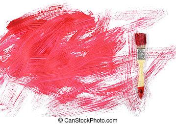 平ら, キャンバス, 塗料, gouache, 位置, 白, ペイントブラシ, 赤
