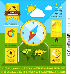 平ら, キャンプ, infographic, template.