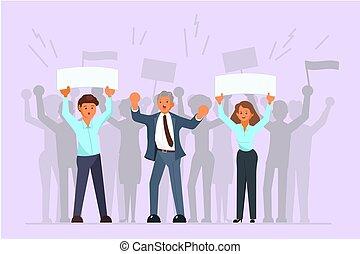 平ら, キャンペーン, 扇動, イラスト, ベクトル, 選挙