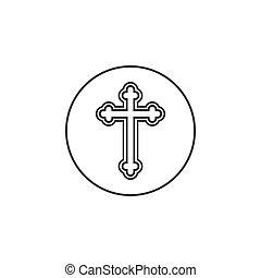 平ら, キリスト教徒, イラスト, 正統, 交差点, 宗教, ベクトル, デザイン, icon.