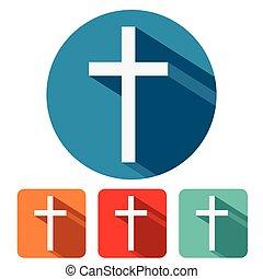 平ら, キリスト教徒, デザイン, 交差点, アイコン