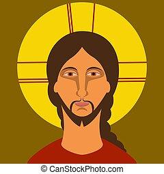 平ら, キリスト, キリスト教, icon., イエス・キリスト, 絵, style.