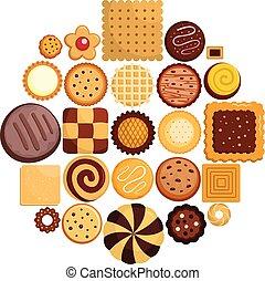 平ら, クッキー, アイコン, セット, ビスケット, スタイル