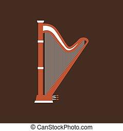 平ら, クラシック, 道具, ベクトル, 音楽, icon., ハープ
