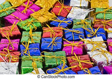 平ら, クリスマス, 包み, たくさん, 床