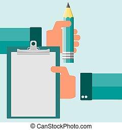 平ら, クリップボード, 現代, イラスト, ベクトル, 手を持つ