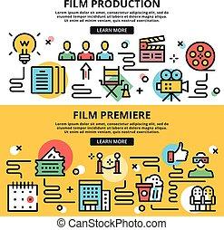 平ら, グラフィック, 印刷される, プリミア, 映画館, 材料, set., アイコン, 生産, サイト, イラスト, infographics., ベクトル, デザイン, 網の概念, 線, 旗, フィルム, 薄くなりなさい