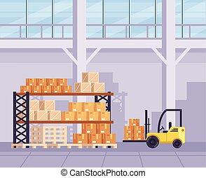 平ら, グラフィック, 部屋, ロジスティックである, 大きい, concept., たくさん, boxes., イラスト, 出産, ベクトル, デザイン, 出荷, 倉庫, 漫画, 株