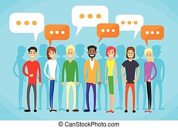平ら, グループ, ネットワーク, 人々, コミュニケーション, チャット, 社会