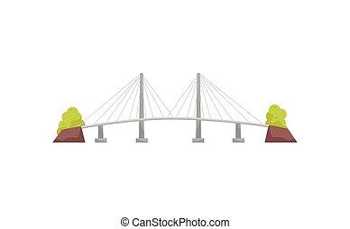 平ら, ケーブル, 金属, 長い間, 大きい, river., ベクトル, 交差, 懸濁液, 建設, transportation., bridge., 構造, アイコン