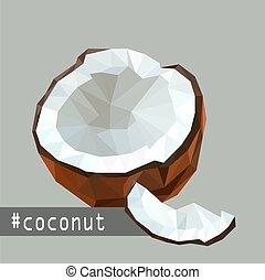 平ら, ココナッツ, イラスト, フルーツ, デザイン, origami