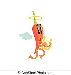 平ら, コショウ, 天使, 特徴, リラ, 遊び, 漫画, 熱い赤, 感情的, チリ, humanized, 翼, ハロー