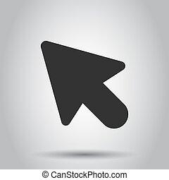 平ら, コンピュータ, ビジネス, バックグラウンド。, concept., イラスト, 目標, カーソル, ベクトル, 矢, 白, マウス, style., アイコン