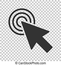 平ら, コンピュータ, ビジネス, バックグラウンド。, concept., 隔離された, イラスト, 目標, カーソル, ベクトル, 矢, マウス, style., アイコン