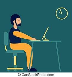平ら, コンピュータ, ビジネス, モデル, ラップトップ, 仕事, ベクトル, 机, 人