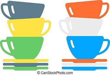 平ら, コーヒー, カフェ, カップ, お茶, 飲みなさい, 朝, 飲料, vector., 付属品, ∥あるいは∥, ...