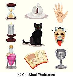平ら, コーヒー セット, 一服, カップ, マスク, 儀式, ねこ, icons., ベクトル, グラウンド, ろうそく, 本, 黒, 恐い, attributes., 予言