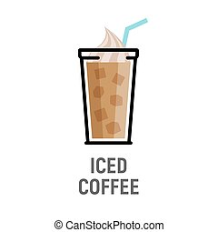平ら, コーヒー, 凍らされる, カップ, 飲みなさい, 隔離された, デザイン, 寒い, icon.